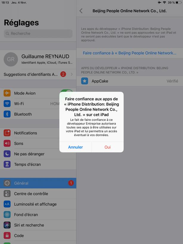 Comment régler un problème de développeur non approuvé avec AppCake