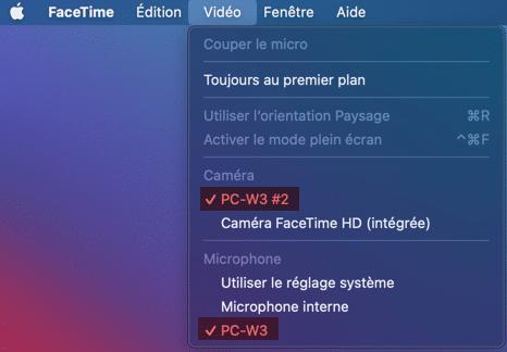 Utilisation d'une webcam externe sur un iMac.