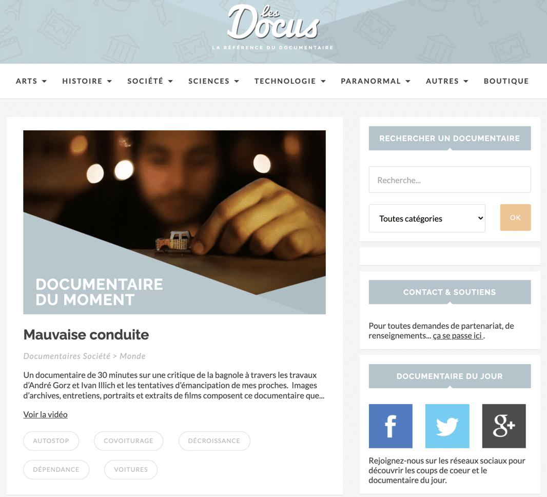 découvrez Les Docus un site de streaming documentaire sans tabou et qui aborde des sujets de société