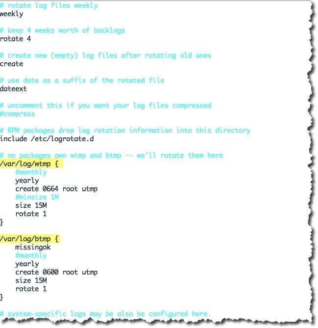Exemple de configuration d'un fichier logrotate.conf