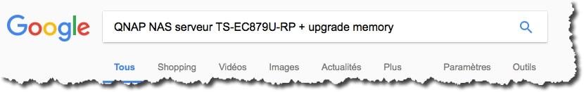 recherche sur Google avec les mots clés suivants : QNAP NAS serveur TS-EC879U-RP + upgrade memory