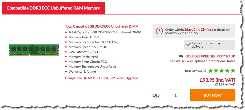 Acheter de la RAM sur kingstonmemoryshop.co.uk