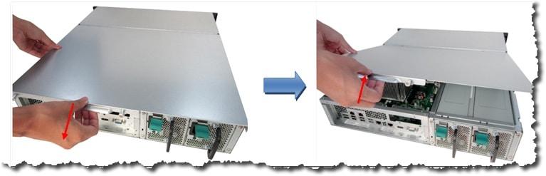 Maintenez l'encoche au bord du capot supérieur NAS QNAP. Retirez le capot supérieur des deux mains.