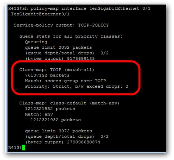Vérifier la qos sur un switch Cisco pour la TOIP