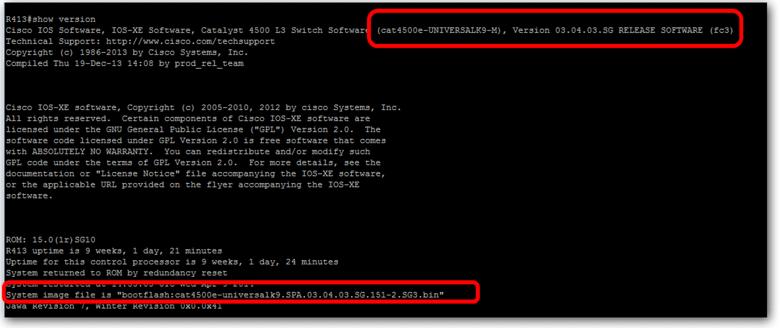 Vérifier si l'IOS chargé est bien celui voulu sur un switch Cisco