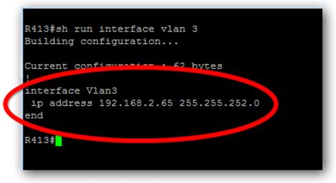 vérifier l'adresse de management d'un switch Cisco