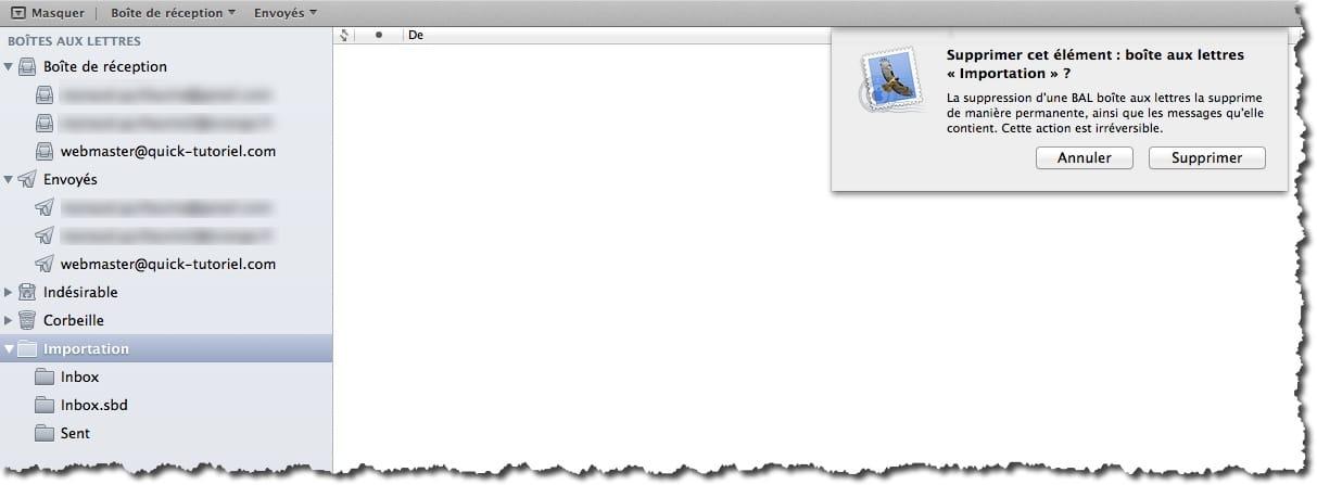 Déplacer vos mails de la BAL importation dans les répertoires de Mail sous MAC