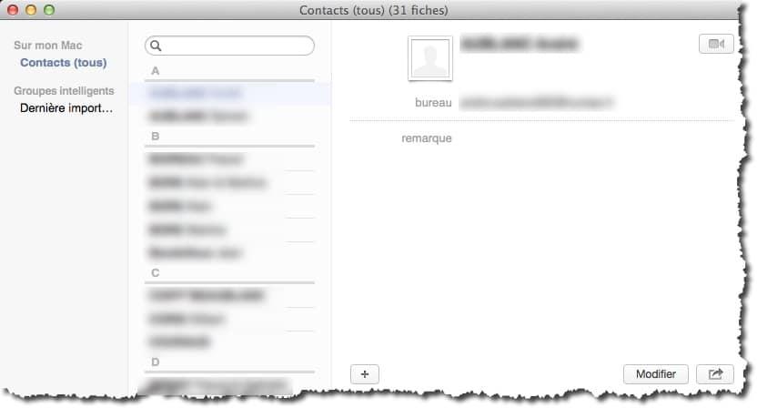Gérer vos contacts grâce à l'application Contacts de MAC.