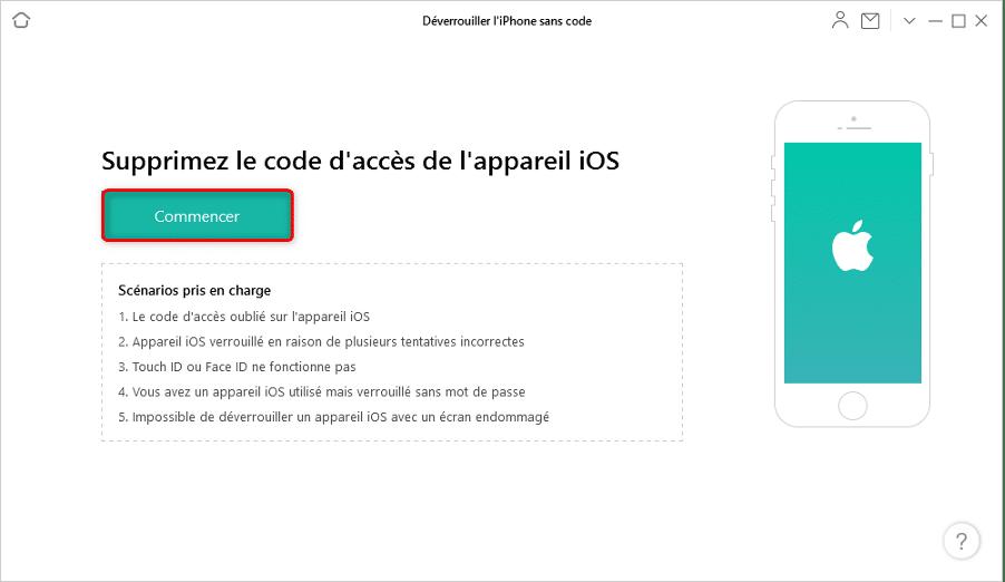 Déverrouiller un iPhone sans code avec AnyUnlock