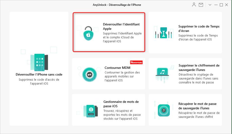 Supprimer un identifiant Apple sans mot de passe avec AnyUnlock