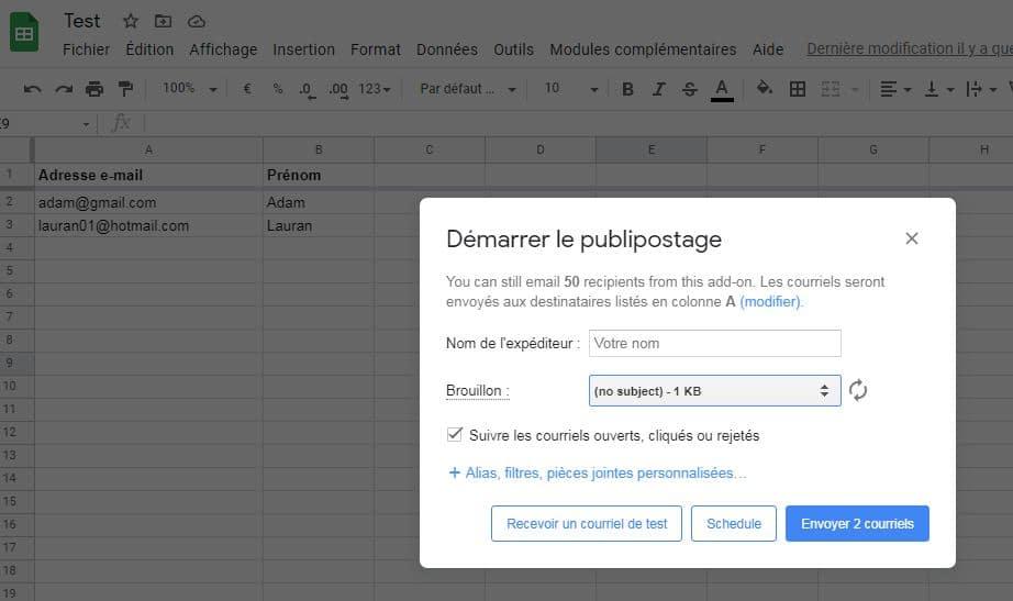 Envoyer des mails en masse à partir d'un fichier rempli manuellement