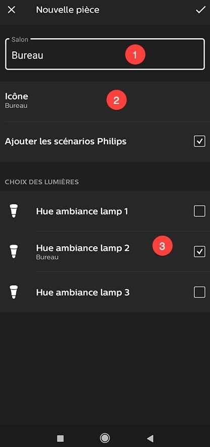 Créer une pièce dans l'application Philips HUE.