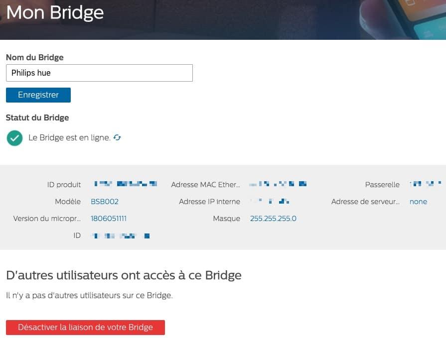 Le statut de votre pont HUE est disponible depuis votre compte Internet
