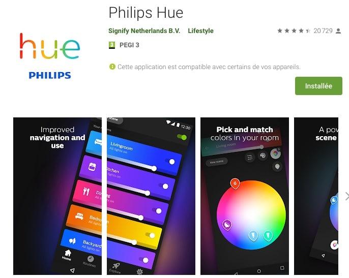 Télécharger l'application HUE pour smartphone pour gérer vos ampoules HUE