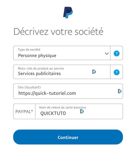 Passer votre compte Paypalen compte professionnel