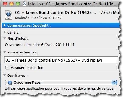 Ouvrer les informations sur un fichier avec la combinaison de touches CMD+I
