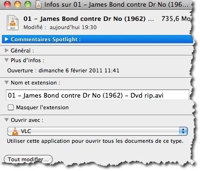 Ouvrer les informations sur un fichier avec la combinaison de touches CMD+I et modifier l'application par défaut
