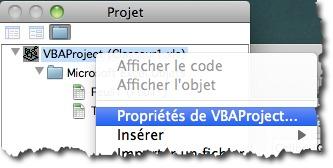 editer les propriétés d'un code VBA