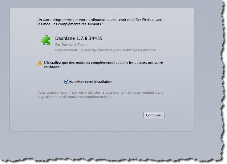 Extension Dashlane pour navigateurs Web