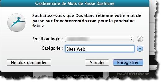 Enregistrer le mot de passe d'un site web dans Dashlane