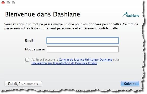 Créer un compte pour Dashlane