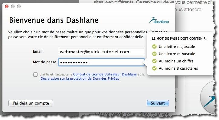 Création d'un compte dans Dashlane