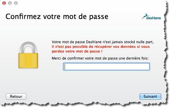 Créer un mot de passe maître dans Dashlane pour créer votre coffre-fort numérique