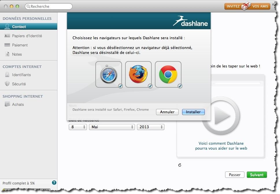 Installer le plugin Dashlane pour les navigateurs web