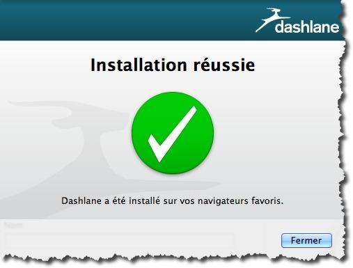 Instalaltion réussie de Dashlane