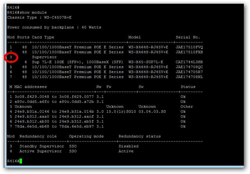Vérifier le statut de chaque module sur un switch Cisco
