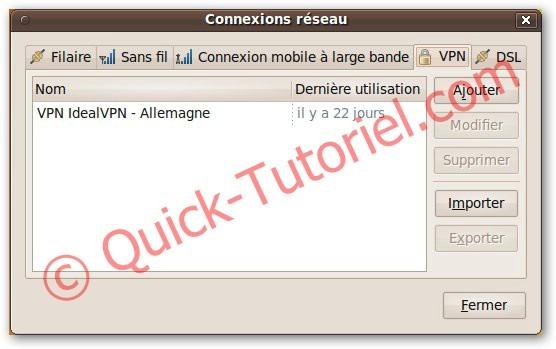 Importer un fichier ovpn qui contient les paramètres de votre VPN dans Ubuntu