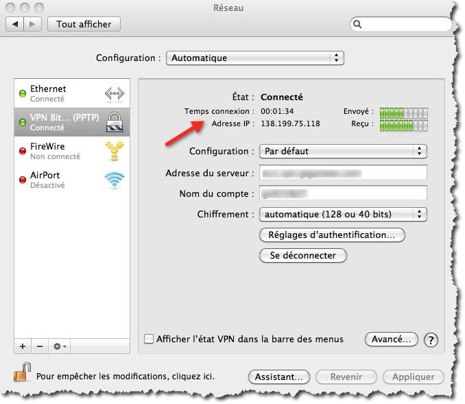 Utiliser une connexion VPN PPTP sous MAC.