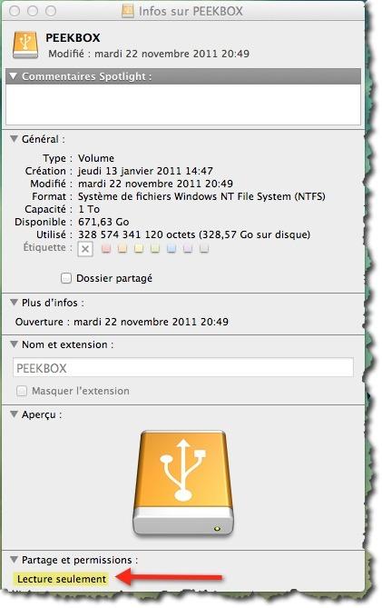 Accès en lecture seulement sur les disques NTFS sans Paragon NTFS for MAC.