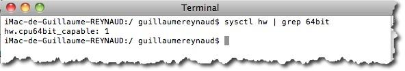 Vous voulez savoir si votre MAC est compatible 64 bits. utiliser la commande Systctl