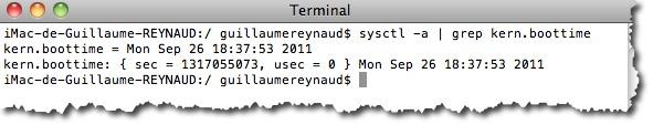 VOus voulez connaitre la date du dernier reboot de votre MAC. utiliser la commande Sysctl.