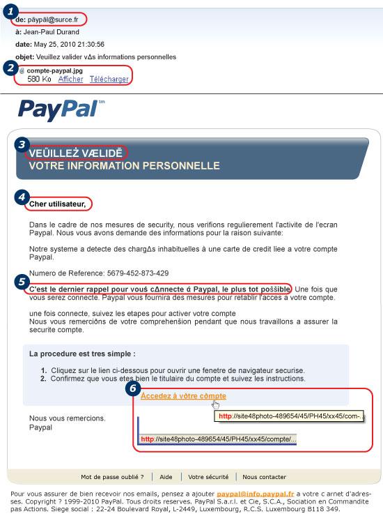les arnaques par mail sur Paypal