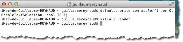 Activer le copier coller en mode coup d'oeil grâce à une commande du terminal sous MAC