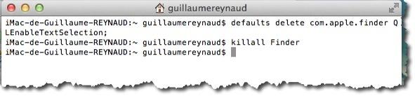 Désactiver le copier coller en mode coup d'oeil grâce à une commande du terminal sous MAC