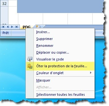 Protection feuille excel