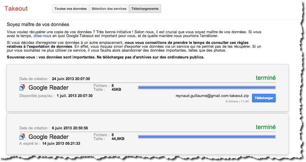 export google reader 4 Comment exporter vos flux RSS de Google Reader.