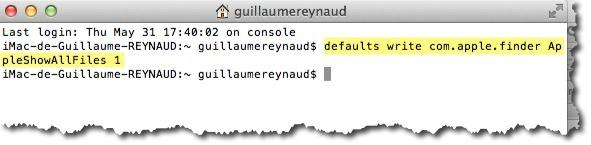ligne de commande pour afficher les fichiers cachés sous MAC