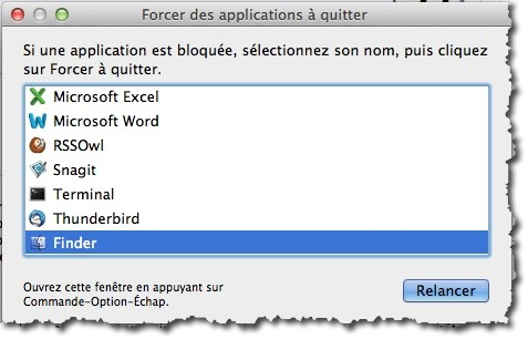 Forcer les applications MAC à fermer
