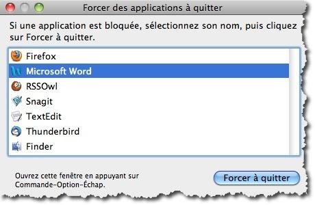 Forcer une application à quitter sous MAC