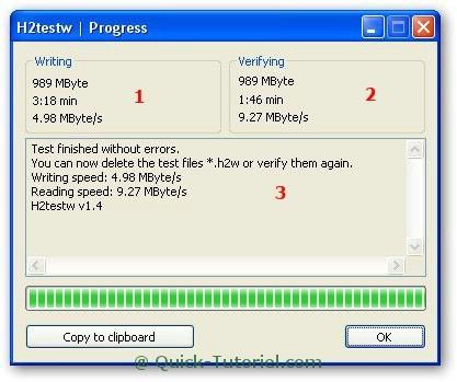 Tester la fiabilité et la capacité d'une clé USB avec H2testw