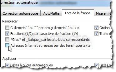 Désactiver les liens hypertexte dans Word sous Windows