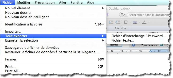 exporter les données de 1Password au format txt