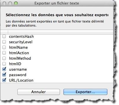 sélectionner les champs à exporter de 1Password vers Dashlane