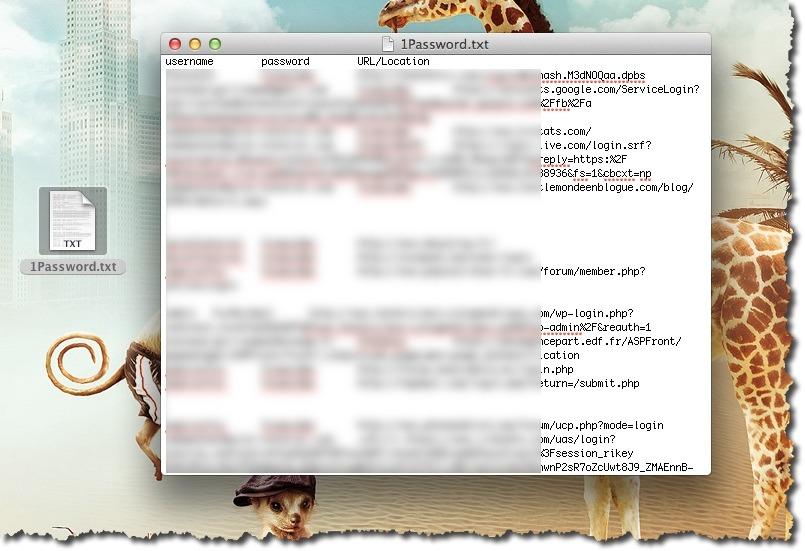 Fichier texte 1Password à intégrer dans Dashlane