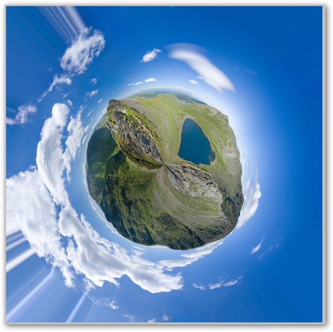 exemple de création d'une planètre avec Photoshop à partir d'un panorama