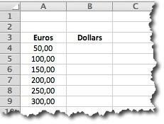 tableau de valeurs sous excel